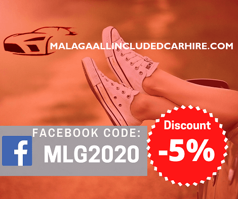 Rent a car with a 5% discount with Málaga All Included Car Hire | Use this code go to Facebook and press like on our page, then you can use the discount code.