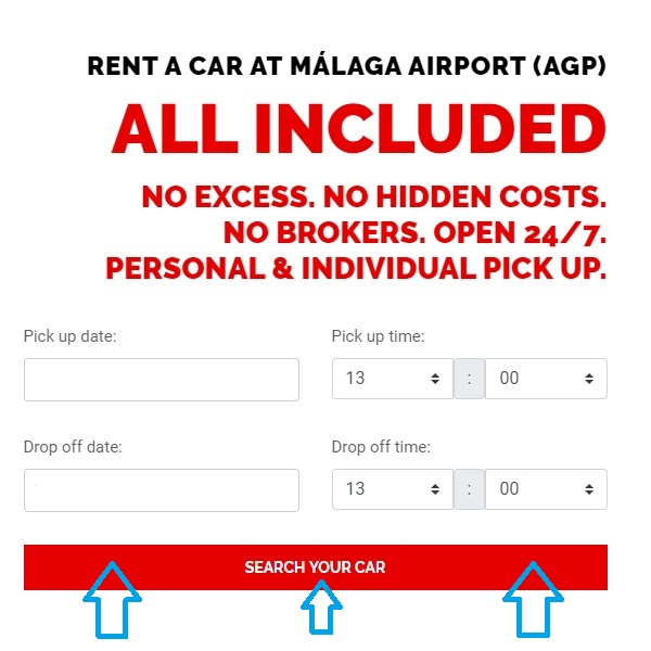 Rent a Car Malaga Airport - Dates